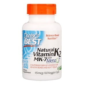 Natural Vitamin K2 MK7 with MenaQ7 - 45mcg - 60 vcaps DrBest