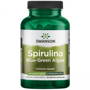 Spirulina Natural Blue-Green 500mg 90kaps 10% fitocjaniny Swanson