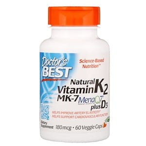 Natural Vitamin K2 MK7 with MenaQ7 plus D3, 180mcg - 60 vcaps DrBest