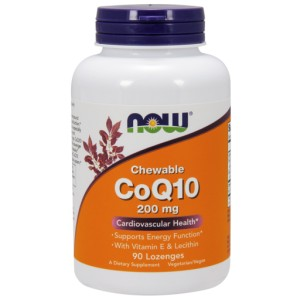 CoQ10 with Lecithin & Vitamin E, 200mg (Chewable) - 90 lozenges NOWFOODS