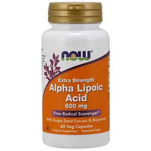 Alpha Lipoic Acid with Grape Seed Extract & Bioperine, 600mg - 120 vcaps NOWFOODS